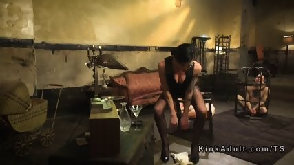 Tranny unleashed and anal fucked slave