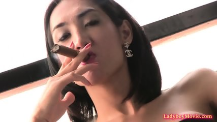 Ladyboy Om Smokes Thick Cigar