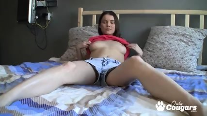 Skinny brunette babe rubbing her pussy on cam