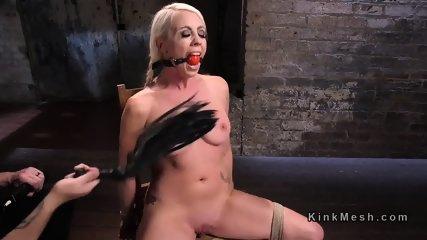 Tied blonde slave has tough torment - scene 1