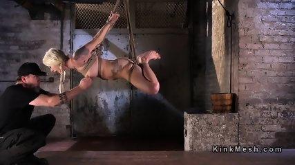 Tied blonde slave has tough torment - scene 7