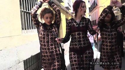 Two female slaves in femdom walked in public - scene 3