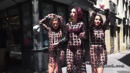 Two female slaves in femdom walked in public - scene 4