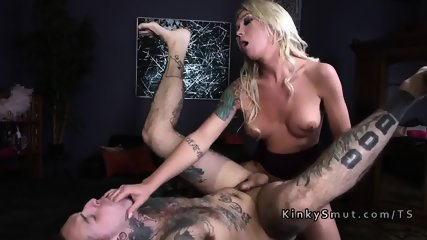Inked dude got trannys hard dick in the ass - scene 8