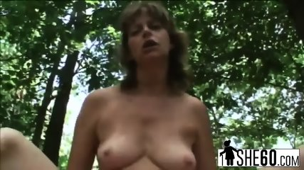 Horny granny Judita jumps on cock and rides it outdoors - scene 7