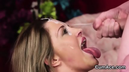 Foxy peach gets cum load on her face sucking all the charge - scene 4