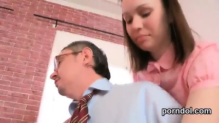 Fervent bookworm is tempted and reamed by her older teacher - scene 9