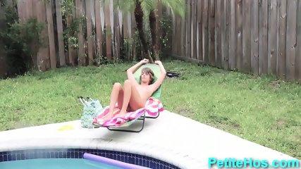 Tiny teen sunbathing and sucking - scene 5