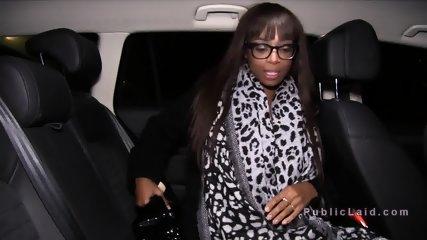 Ebony beauty shows huge tits in public