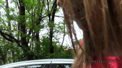 Girlfriend teen cheating in strangers car