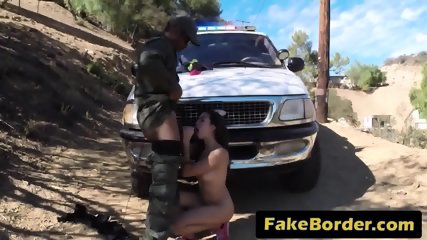 Latina slut with big tits fucked by a big black cock on the border