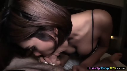 Ladyboy worships a POV cock with her mouth and ass