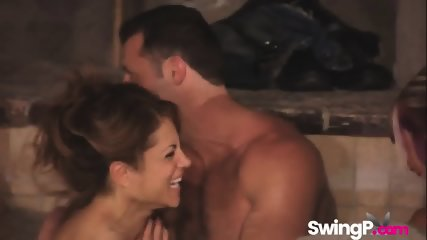 Swingers taking bath together in reality show