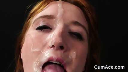 Peculiar looker gets jizz load on her face swallowing all the jism