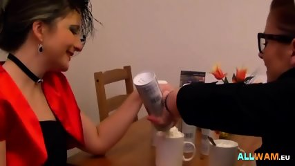 Lesbians having fun with cream