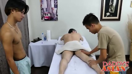 Daddy is enjoying in massage and threesome with two horny guys