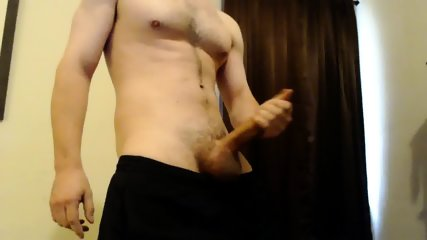 hot guy w/ athletic body strokes big cock to cumshot - young solo male college