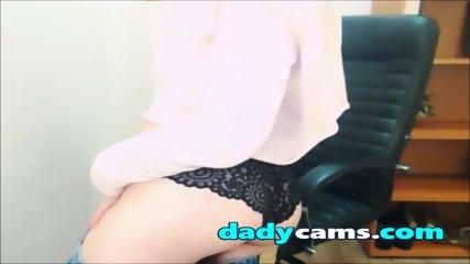Sweet teen in black pants teasing on webcam