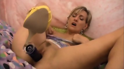 Short Haired Blonde Playing With Her Toys - scene 7