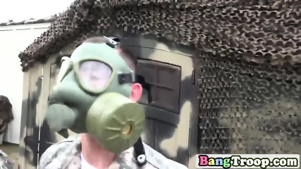 Military guys mount each other s anuses while wearing gas masks