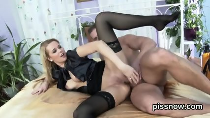 Surprised sex kitten in underwear is geeting peed on and nailed