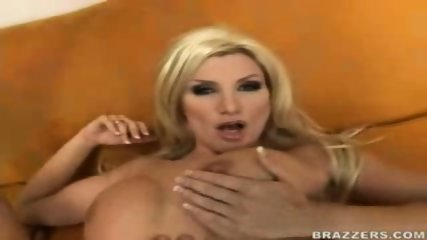 Hot busty blond MILF pounded on the couch - scene 5