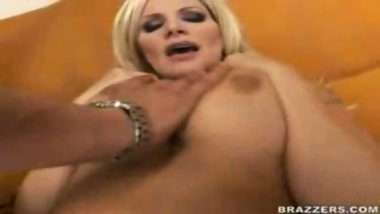Hot busty blond MILF pounded on the couch - scene 7