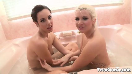 Brunette And Blonde Lesbians Pussy Playing - scene 2