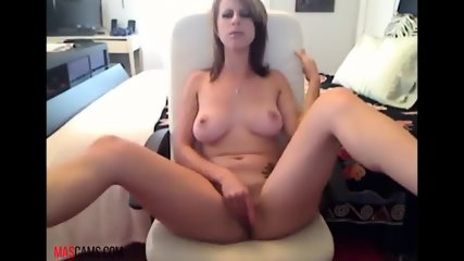 Brunette wirh with nice boobs playing with them on webcam