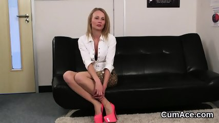 Naughty babe gets cum load on her face sucking all the charge