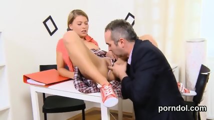 Sultry bookworm is tempted and banged by her older teacher