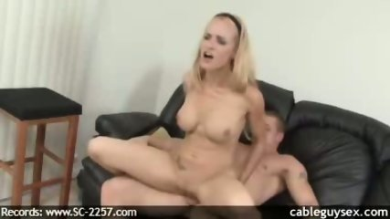 Horny Big tit MILF rides the cable guy - scene 9