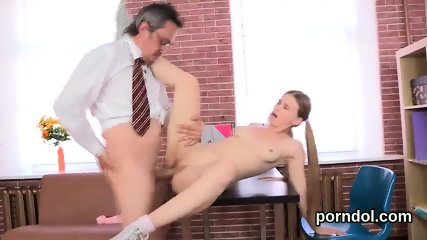 Erotic college girl is seduced and banged by her senior instructor