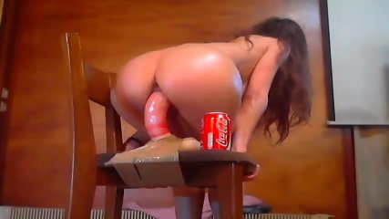 Hot Girl With Oiled Body Rides Big Dildo
