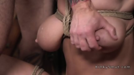 Tattooed guy bounds and fucks two subs