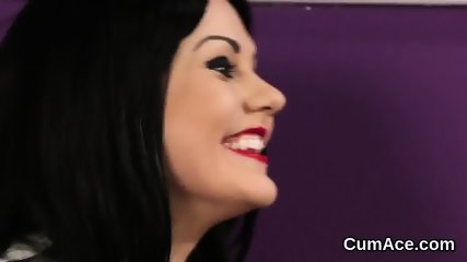 Wicked peach gets cum load on her face eating all the semen