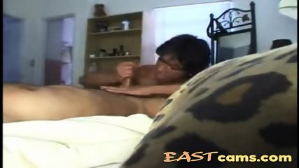Asian lady giving blowjob