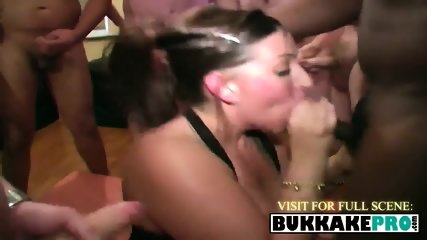 Spoiled brunette wants to swallow barrels of cum during a hot bukkake party