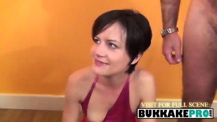 Slutty housewife sucks multiple sausages to get tons of quality semen