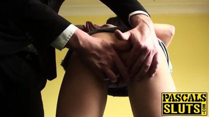 Brunette chick with tattoo and nice tits masturbates