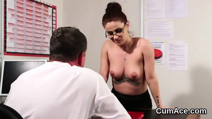 Naughty doll gets cum shot on her face swallowing all the cum