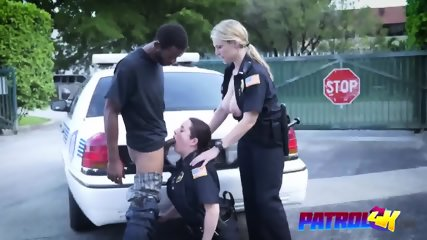 OMG is this for real Two female busty cops banging BBC outdoors