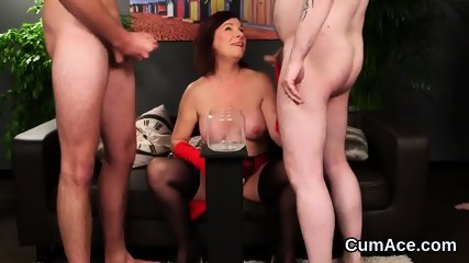 Nasty model gets cum load on her face swallowing all the jizm