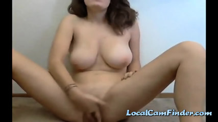 Girl With Huge Natural Boobies Fingering Her Holes - scene 3