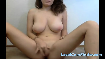 Girl With Huge Natural Boobies Fingering Her Holes - scene 4