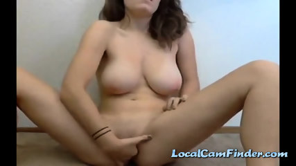 Girl With Huge Natural Boobies Fingering Her Holes - scene 7