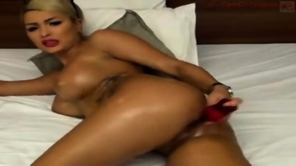Tattooed Blonde Playing With A Dildo