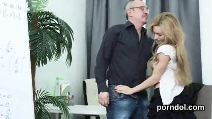 Lovesome bookworm is teased and reamed by her senior schoolteacher