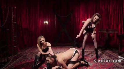 Lesbian threesome spanking revenge