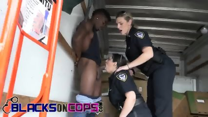 Stunning police whores are mounting a monster black dick